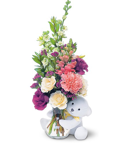 Canada flowers bear hug with white roses
