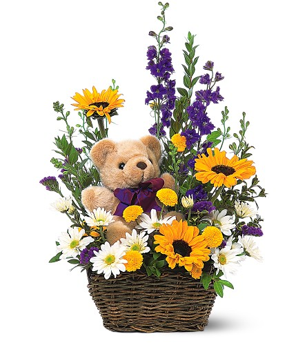 Canada flowers arrangement & teddy bear